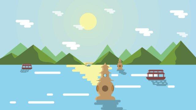 항주 서호 관광지 삽화 소재 삽화 이미지