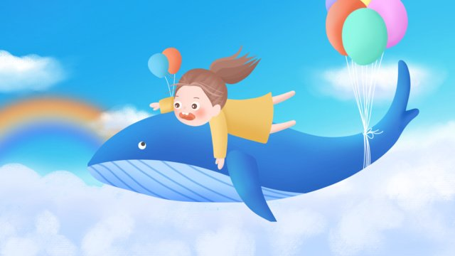 Surreal whale girl blue sky white clouds children illustration, Whale, Girl, Blue Sky illustration image