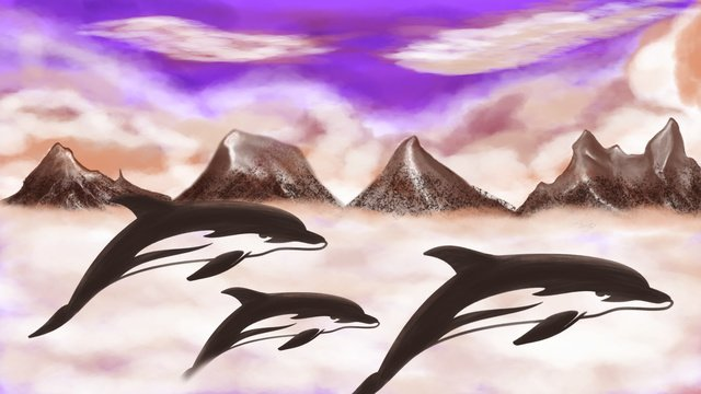 Whale original illustration of a on the clouds llustration image illustration image