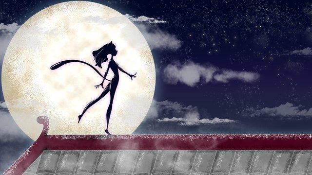 Иллюстрация Женщина кошка под луной Ресурсы иллюстрации Иллюстрация изображения