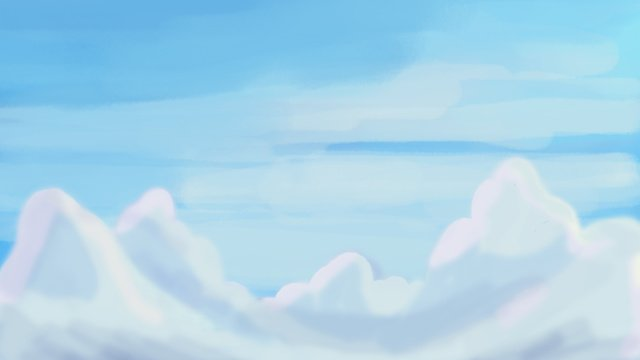 White clouds Blue sky Cloud sea cure, Sky, Hand Painted, Graffiti illustration image