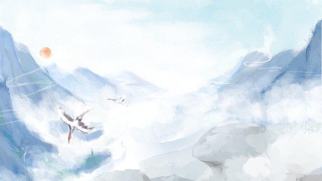 雲鶴山に飛翔する中国風イラスト中国風  山  イラスト PNGおよびPSD illustration image