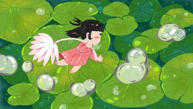 White dew season lotus leaf original illustration, White Dew, Dew, Lotus Leaf illustration image