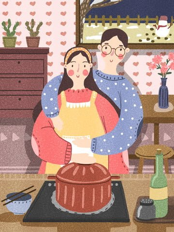 winter couple daily cooking together at home illustration image