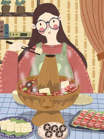 cô gái ăn mùa đông lẩu tại nhà Hình minh họa