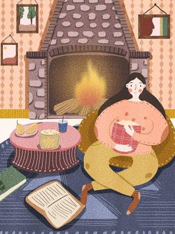 Счастливое время мультфильм иллюстрации зимней девочки дома у себя Ресурсы иллюстрации