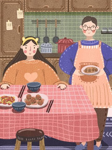 winter couples cooking together daily time illustration image