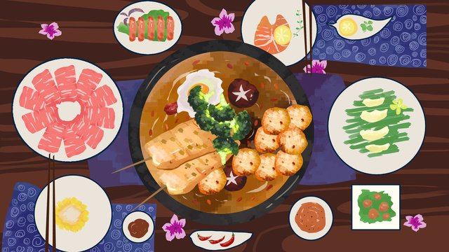 winter food delicious spicy hot pot hand drawn illustration llustration image illustration image