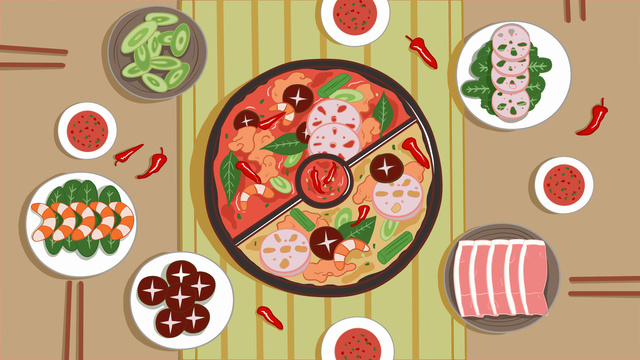 Winter cuisine chongqing 鸳鸯 hot pot hand drawn illustration, Winter Food, Hot Pot, Chongqing Steamboat illustration image
