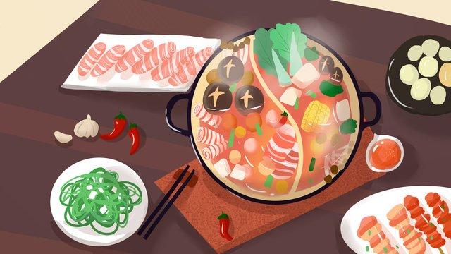 lẩu thức ăn mùa đông minh họa gốc Hình minh họa
