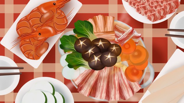 eat hot pot food in the winter spicy delicious warm heart llustration image illustration image