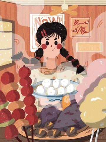겨울 음식 특선 간식 일러스트 삽화 소재