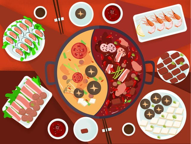 Зимняя еда горячий горшок мультфильм иллюстрации Ресурсы иллюстрации Иллюстрация изображения