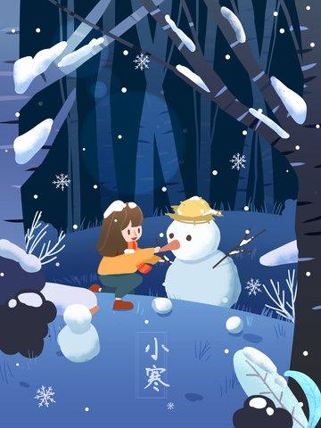 소녀 눈사람 겨울 추운 약간의 눈 동지 축제 일러스트 레이션 삽화 소재