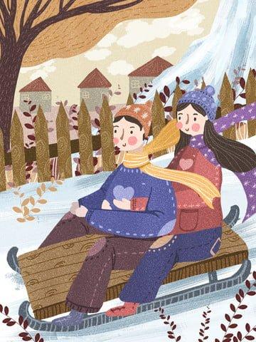 冬景色スキーカップルそり イラスト素材