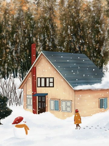 눈 덮인 겨울 풍경 오두막 삽화 소재
