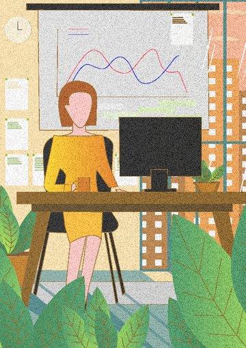 職場人物之工作中的女人扁平風插畫 插畫圖片