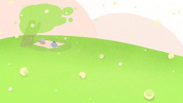 世界観光デーの芝生の上でのピクニック イラスト素材 イラスト画像