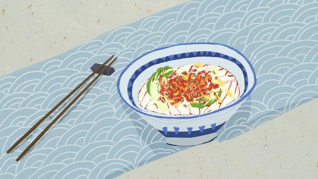 xian cuisine oily noodles llustration image