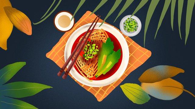 xian oil splash noodles food illustration llustration image illustration image