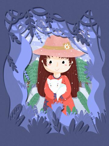 original little 节气 थोड़ा लोमड़ी मूल चित्रण पकड़े हुए चित्रण छवि चित्रण छवि