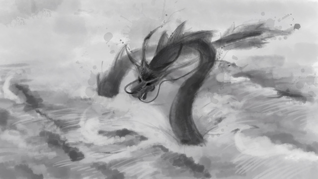 Xiaolong Ancient style Chinese style Ink painting, Illustration, Wave, Black illustration image