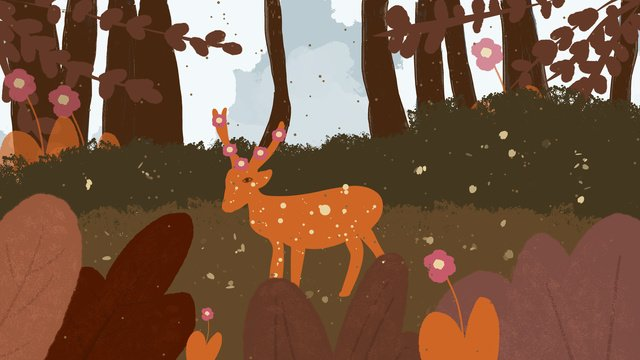 Healing deer in the forest, Yellow, Deer, Cure illustration image