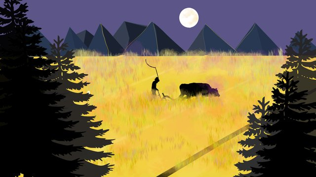 Hand drawn farmer and cow, Yellow, Night, Farmers And Cattle illustration image