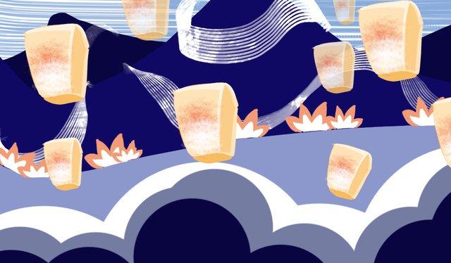 Traditional festival mid-autumn lantern, Zhongyuan Festival, Festival, Solar Terms illustration image