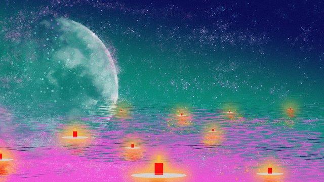 Оригинальная иллюстрация прекрасного света galaxy river в середине осеннего фестиваля Ресурсы иллюстрации