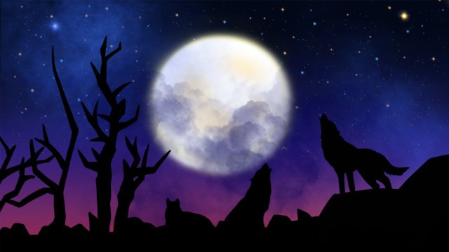 the mid autumn festival series of dark nights has been wolf style silhouette llustration image illustration image