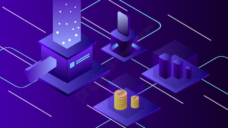 2 5d Business Finance Internet Virtual Bitcoin Vector Illustration, 2.5d, 2.5d, 25d llustration image