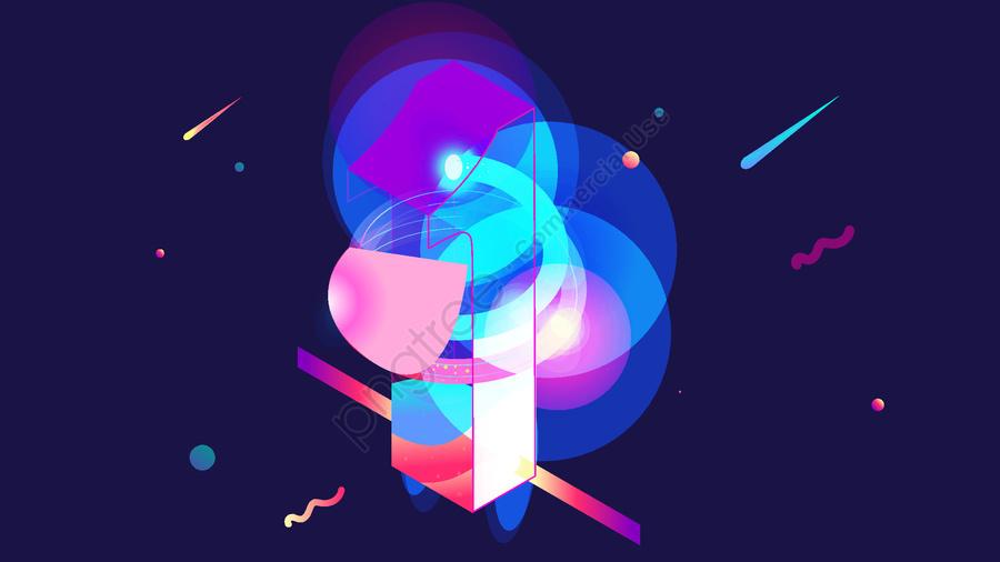 25d Symphony Gradient Technology Sense Blockchain Internet Number 1, 2.5d, Colorful Gradient, Technological Sense llustration image