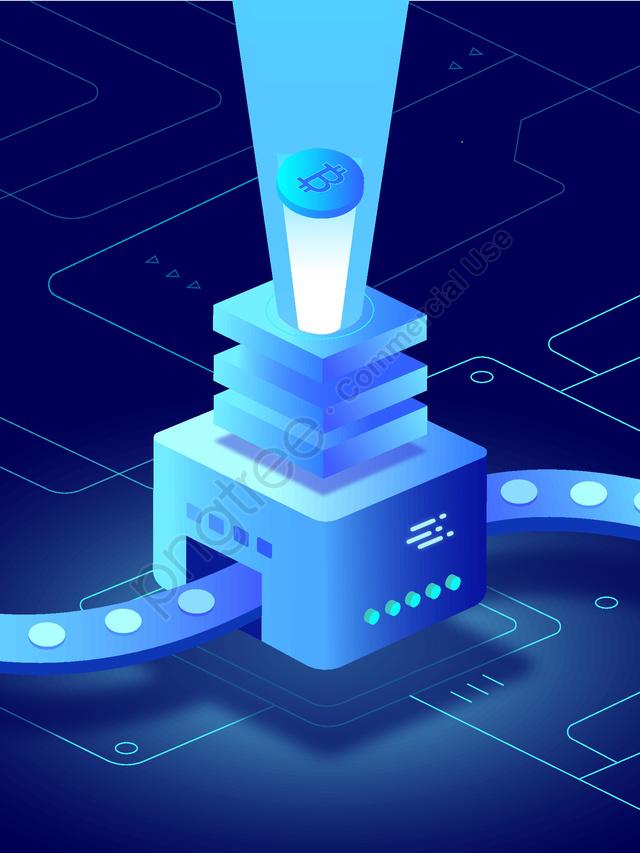 2 5d Internet Hi Tech Future Bitcoin Manufacturing Machine Blue, 2.5d, The Internet, High Tech llustration image
