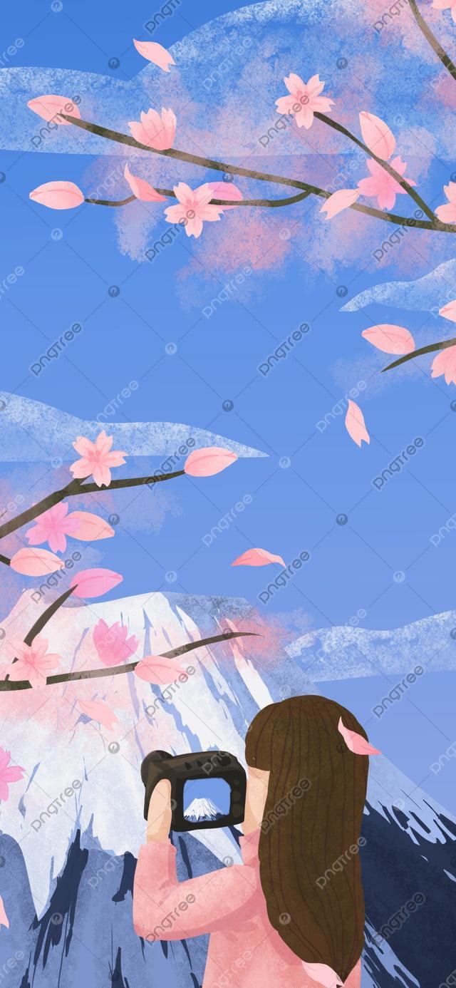 Оригинальный календарь на 2019 год март Фудзи под девочкой свежая иллюстрация, 2019, марш, календарь llustration image