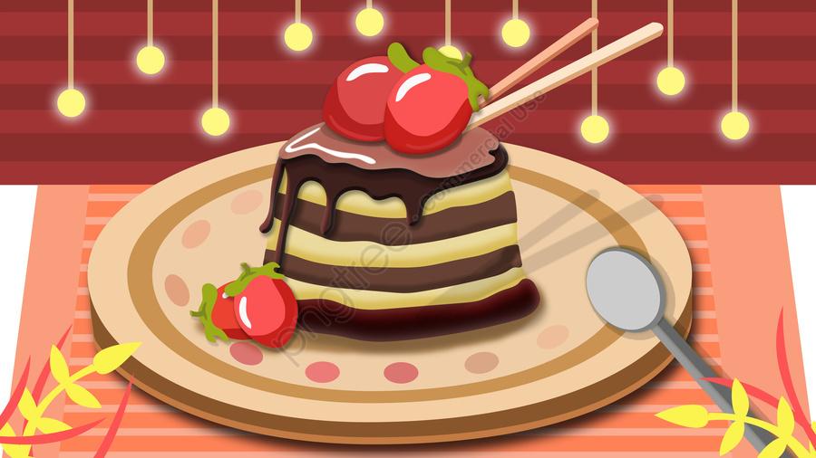 下午茶草莓蛋糕, 下午茶, 草莓, 蛋糕 llustration image