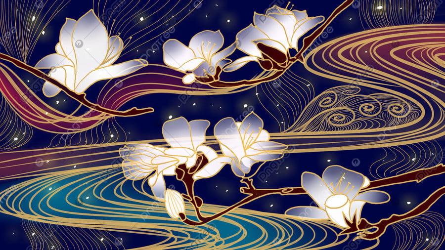 Ambilight古代スタイルの禅マグノリア水パターンフックラインプノンペンの図, Ambilight, マグノリア, 花 llustration image