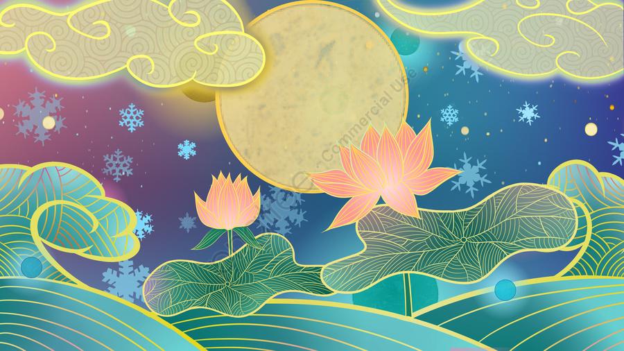 Серия Ambilight Китайский стиль традиционный лотос иллюстрация, Ambilight, Праздник середины осени, лотос llustration image