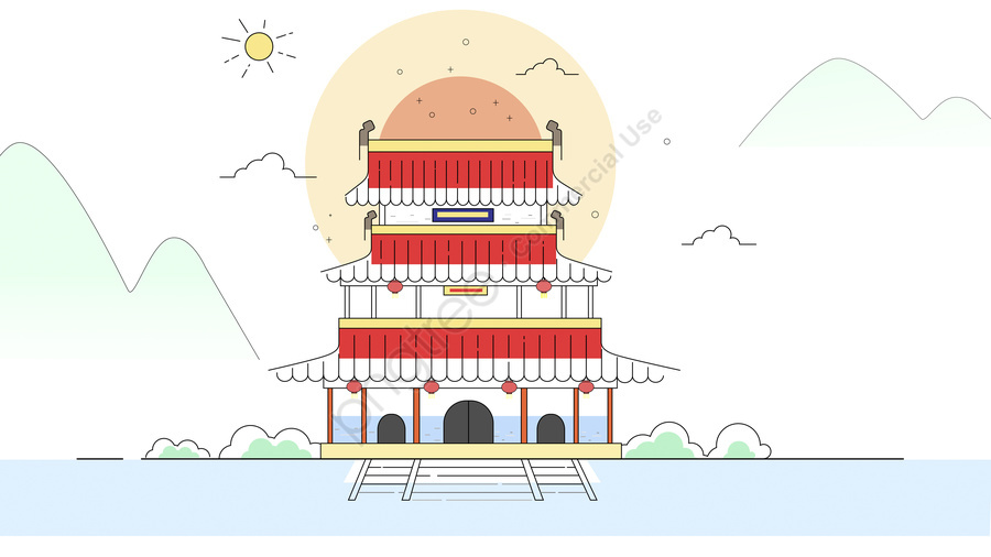 선형 미니멀리스트 고대 건물, 고대 건축, 고대 건물, 평평한 바람 llustration image