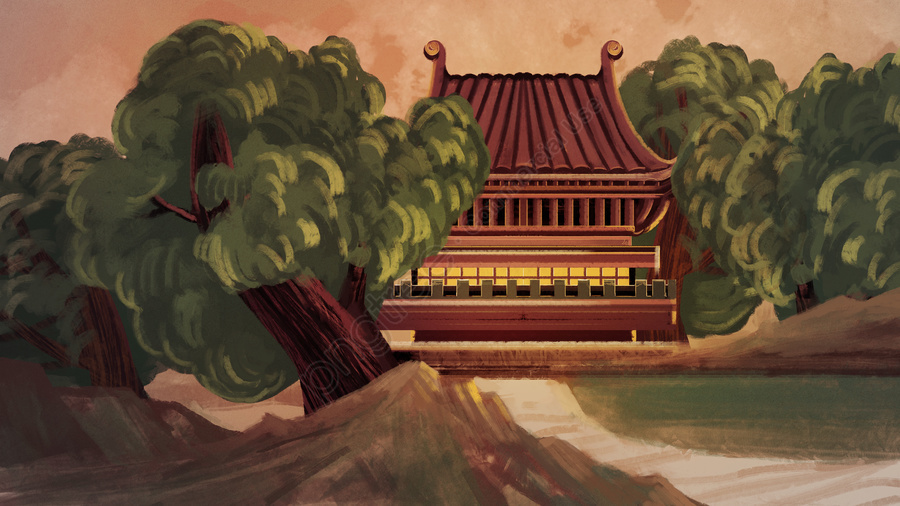 Atmospheric Watercolor Wind Ancient Architecture Temple Illustration, Ancient Architecture, Antiquity, Thick Coating llustration image