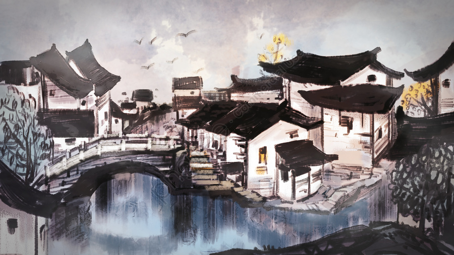 Water Town In The Fog, Ancient Architecture, Antiquity, Thick Coating llustration image