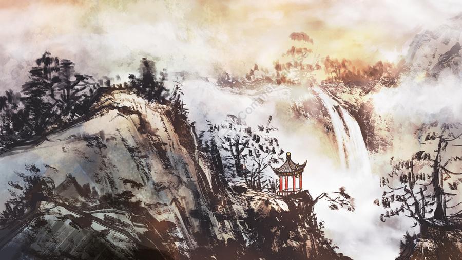 中国絵画の山の上のパビリオン, 古代の建築, 古代のスタイル, 厚塗り llustration image