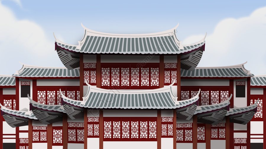 Ancient Architecture Realistic Illustration, Ancient Architecture, Blue Tile, Red Wall llustration image