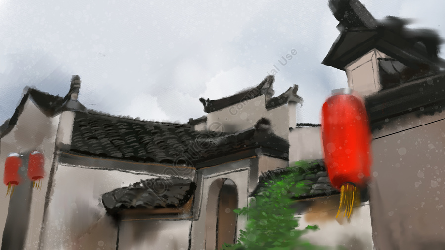 Simple small fresh ink summer freehand ancient architecture, Ancient Architecture, Construction Material, Painting Material llustration image