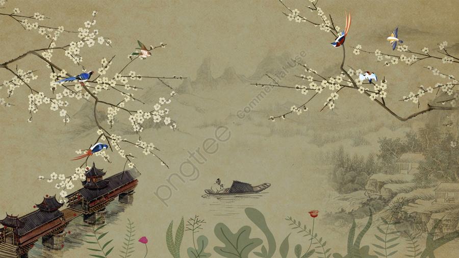古代の花と鳥、中国の風景、手描きのイラスト, 古代の花と鳥, 中華風, 片葉ボート llustration image