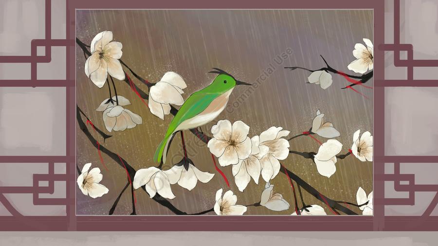Orkid Purba Dan Bunga Dalam Hujan Di Hutan Bunga Kuno Dan Burung Di Luar Tingkap Hujan Gambar Ilustrasi Pada Pngtree Royalti Percuma