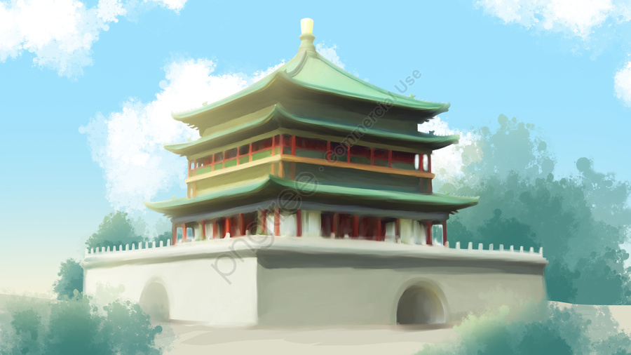 Ancient Architecture Illustration Xian Bell Tower, Archaic Architecture, Clock Tower, Xian llustration image