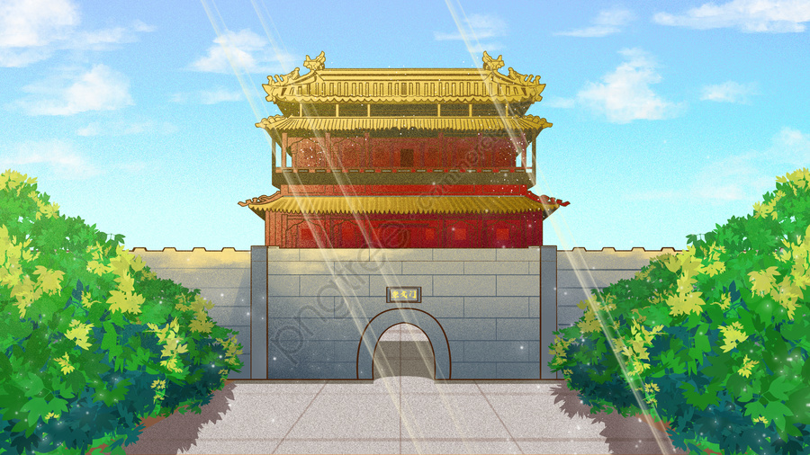 Ancient Architecture Old Beijing Inner City Chongwenmen, Archaic Architecture, Old Beijing, Andingmen llustration image