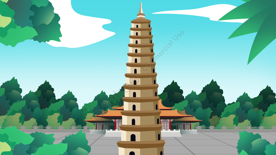Ancient Architecture Building Tower Hengshui Jingzhou, Archaic Architecture, Temple, Ancient Construction llustration image