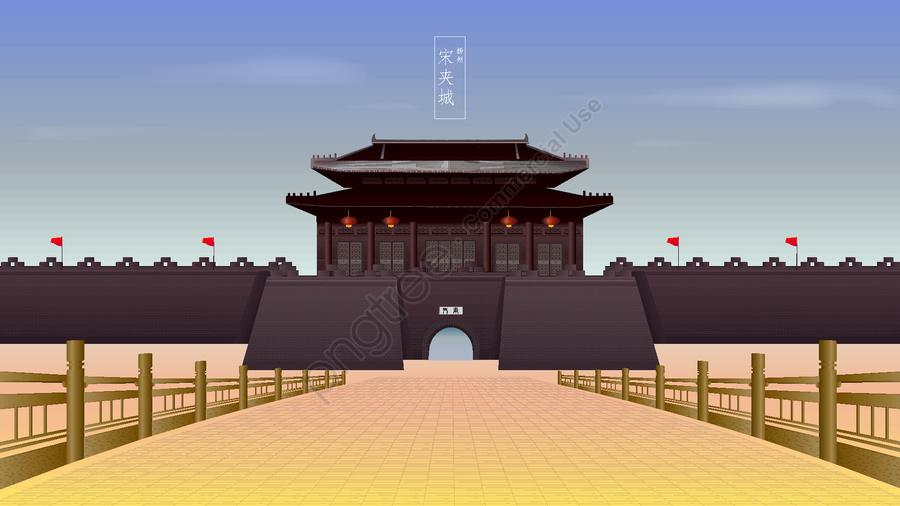 Ancient Architecture Yangzhou Songjiacheng, Archaic Architecture, Yangzhou Ancient Architecture, Song City llustration image